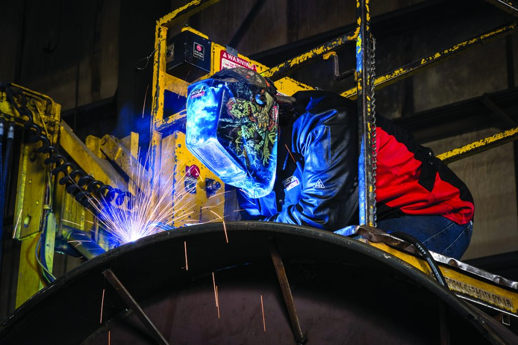 MIG Welding on annealing domes with a Flextec 500 and Flex Feed 84 wire feeder. Qual-Fab, Avon, Ohio