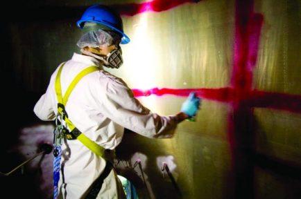 Dye penetrant inspection of pressurized pasturization tank